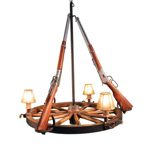 Western 3 Light Wagon Wheel Handcrafted Rifle Chandelier - Rustic Deco Incorporated