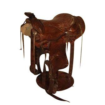 Western Horse Authentic Leather Saddle Bar Stool-Rustic Deco Incorporated