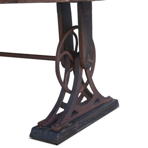 "Whitley Industrial Steampunk Dining Table - Hardwood Top 83"" - Rustic Deco Incorporated"