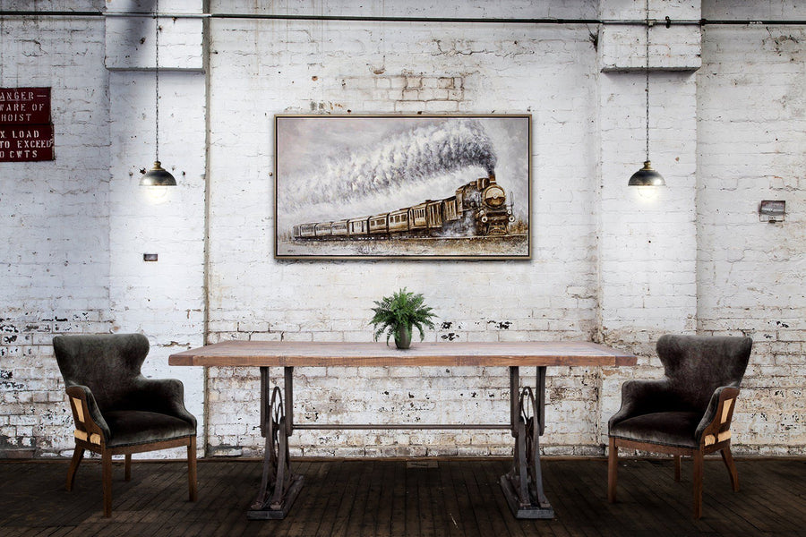 "Whitley Industrial Steampunk Dining Table - Hardwood Top 83""-Rustic Deco Incorporated"