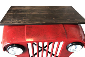 Willys Jeep Office Desk - Working Headlights - Red - Industrial - Hardwood Top - Rustic Deco Incorporated