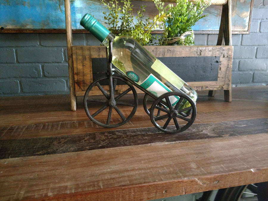 Wine Holder Bike Design Cast Iron Sculpture Rustic Deco