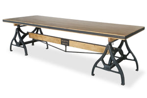Industrial Sawhorse Conference Table - Iron Base - Wood Beam - Rustic Deco Incorporated