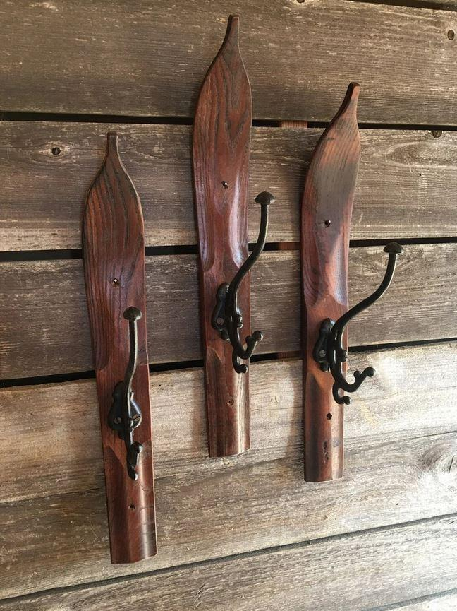 Wooden Ski Wall Hook Coat Hat Rack - Vintage - Handmade - Cast Iron - Rustic Deco Incorporated