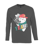 Men's Long Sleeve T-shirt, Bear with ghetto blaster