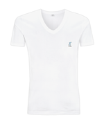 V-Neck Men's/Unisex T-Shirt with small logo - white