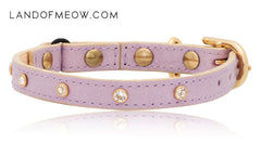 Land of Meow_Linny Swarovski Lilac Cat Collar Back