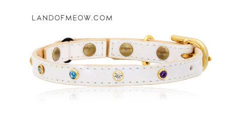 Land of Meow_Linny White Collar with Swarovski Crystals