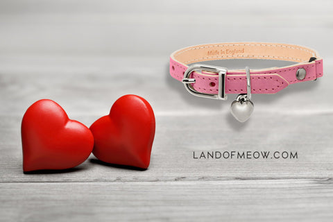 Pink heart collar with hearts