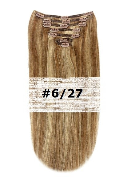 32. CLIP-IN LIGHT BROWN/GINGER BLONDE MIX #6/27