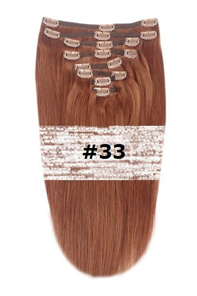 21. CLIP-IN DARK AUBURN COPPER RED #33