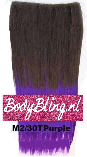 48 BRAZILIAN CLIP IN HAIR EXTENSION M2/30T PURPLE