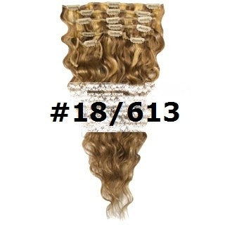 18. CLIP-IN WAVY BROWN BLONDE MIX #18 #613