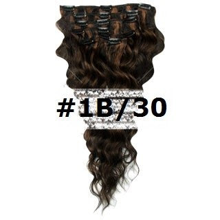 06. CLIP-IN WAVY NATURAL BLACK AUBURN MIX #1B/30