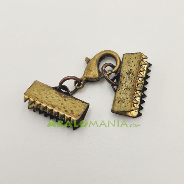 Cierre de cocodrilo / Modelo 3 / Color dorado antiguo / 30mm x 12mm