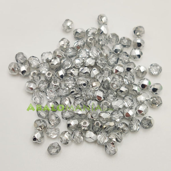 Facetada checa / 4mm / Color Comet Argent light / Paquete de 100 unidades
