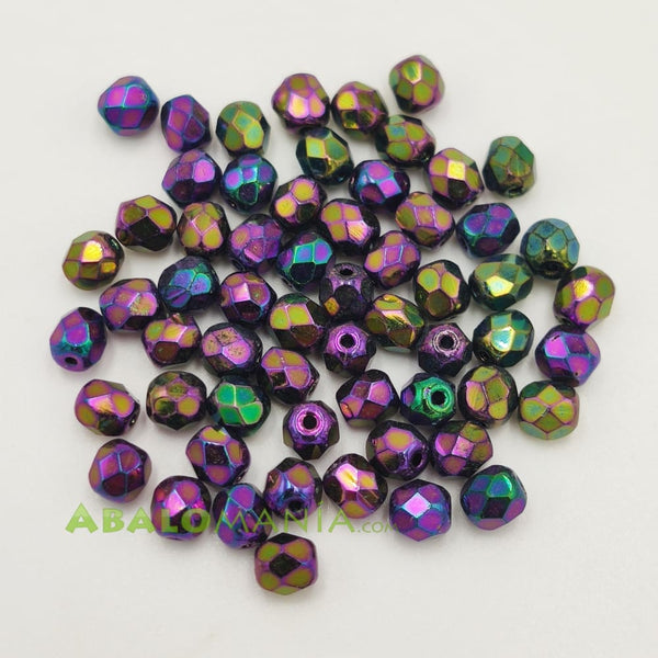 Facetada checa / 5mm / Color morada irisadas / Paquete de 60 unidades