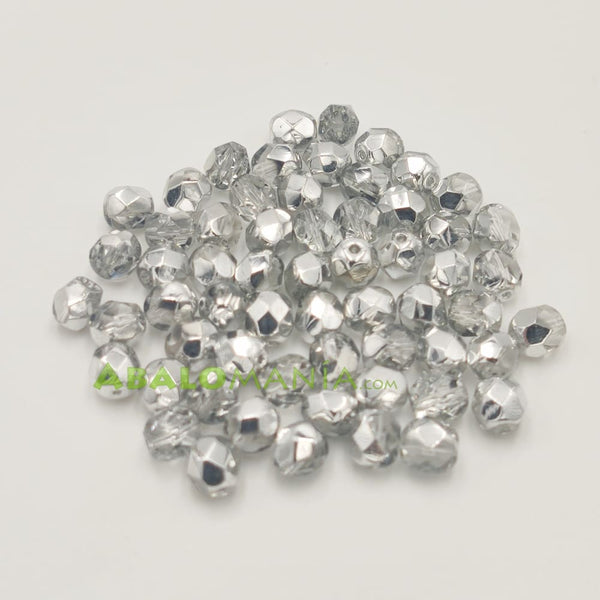 Facetada checa / 6mm / Color comet argent light (plateado medio) / Paquete de 60 unidades