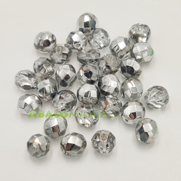 Facetada checa / 8mm / Color comet argent light / Paquete de 30 unidades