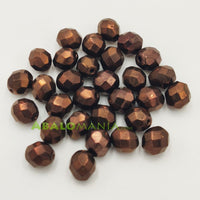 Facetada checa / 8mm / Color Jet Brass (bronce) / Paquete de 30 unidades