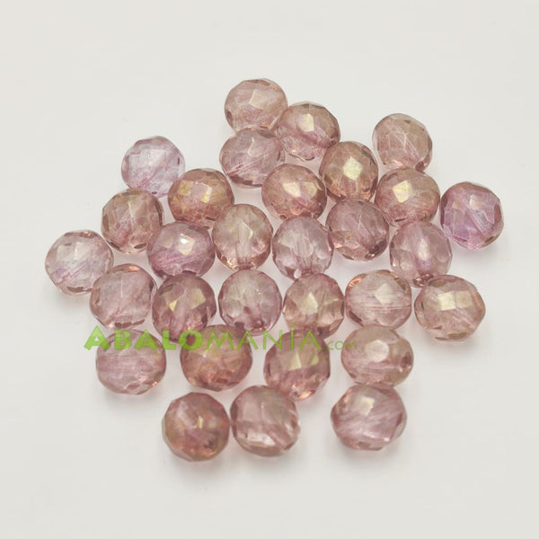 Facetada checa / 8mm / Color light rose dorado / Paquete de 30 unidades