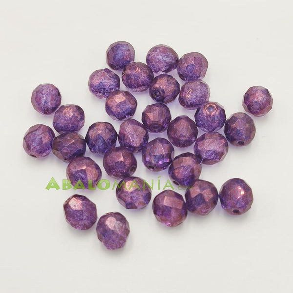 Facetada checa / 8mm / Color violet lustre / Paquete de 30 unidades