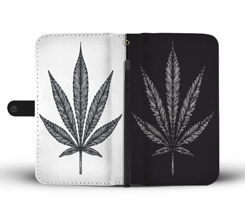 Black and White Weed Wallet Phone Case