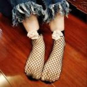 VB WANT SOCK Casual Fishnet Socks 2017 Women Sexy Lace Thin Net Plain Top-Ankle Peony Short Flowers Nylon Socking