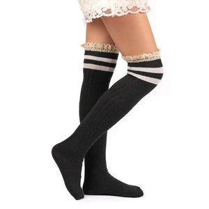 Cotton+Lace high quality High Thick Socks Striped Socks Long Cotton For Girls Ladies Women #LSIW