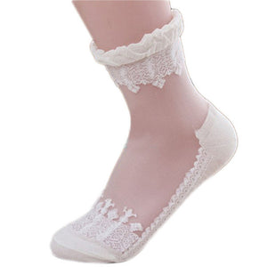 Vb want Summers Womens Ultrathin Crystal Transparent Beautiful Crystal Lace Elastic Short Socks Cotton Lace Sock Meia