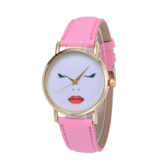Simple Style Quartz Watch Women Unisex Leather Analog Wrist Fashion Funny Human Face Printed Watches reloj mujer