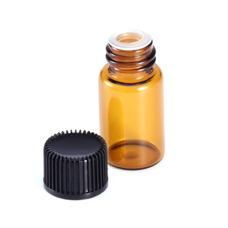 VB want 12 PC 2ml Mini Amber Glass Vial Bottles with Orifice Reducer and Cap for Essential Oils Chemistry Lab Chemicals Colognes & Perfumes by Super Z Outlet