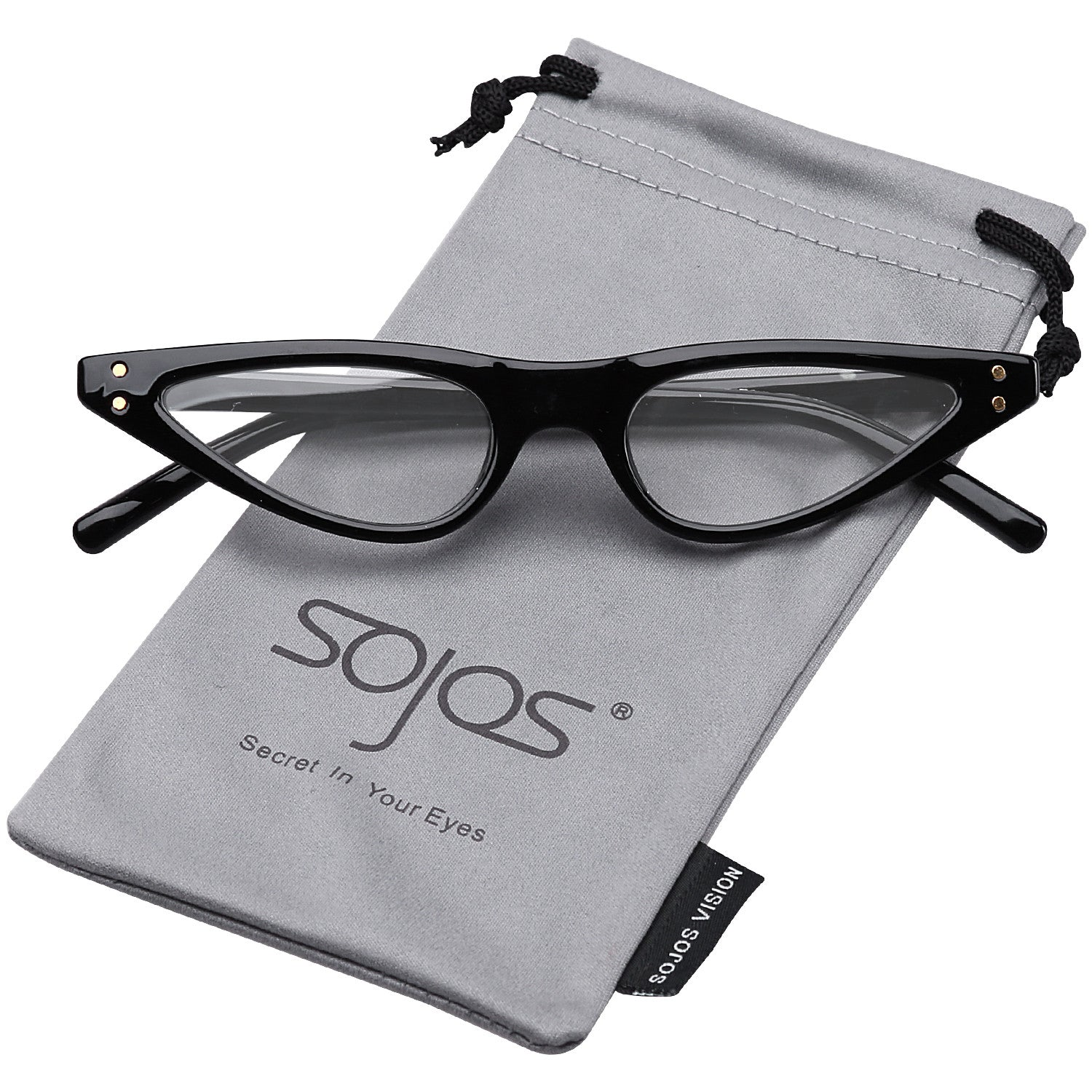 8888      SojoS Vintage Clout Goggles Cat Eye Retro Sunglasses Small Fashion Rivet Glasses SJ2046