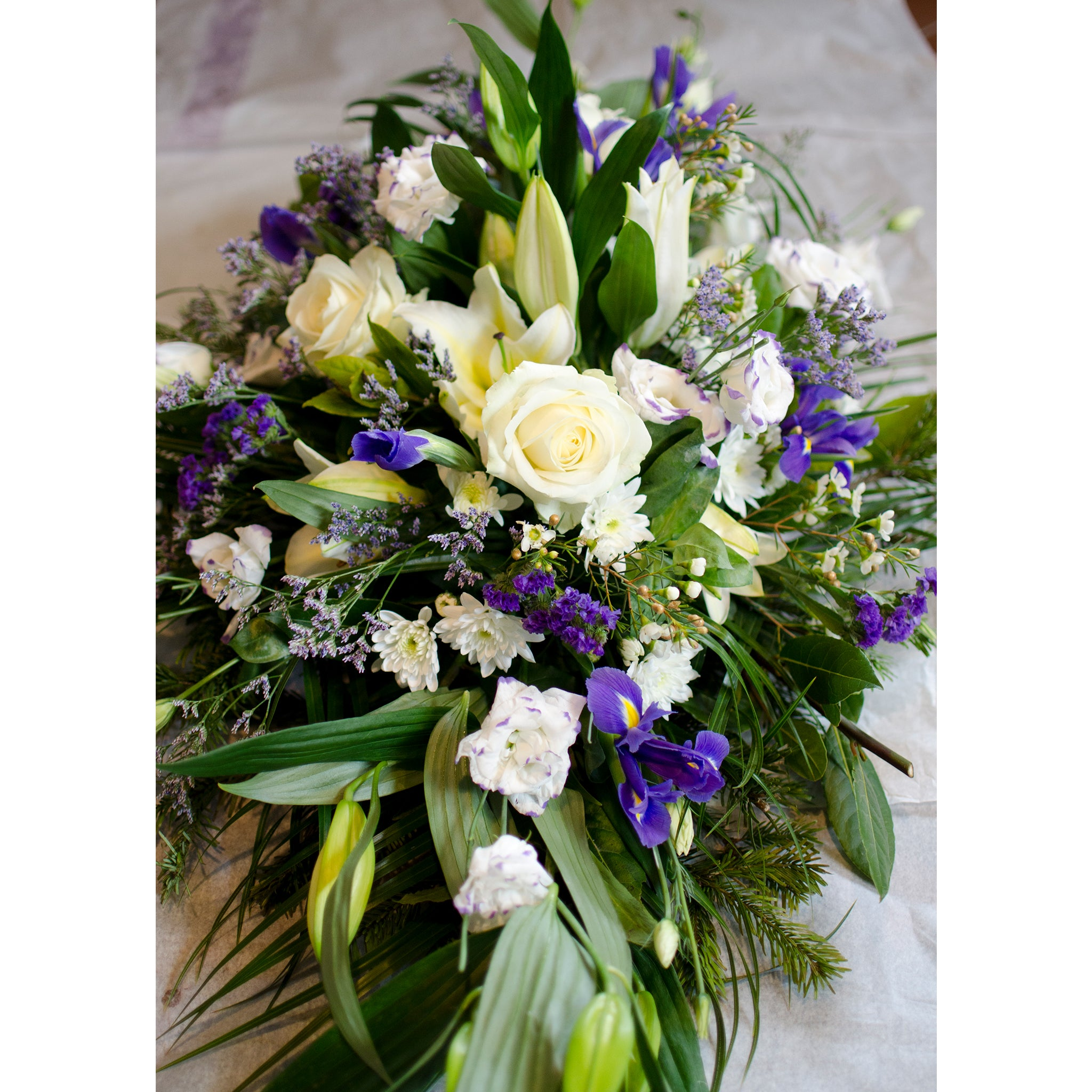 Blue white funeral spray pattys flower shop blue and white funeral spray tipperary flowers izmirmasajfo