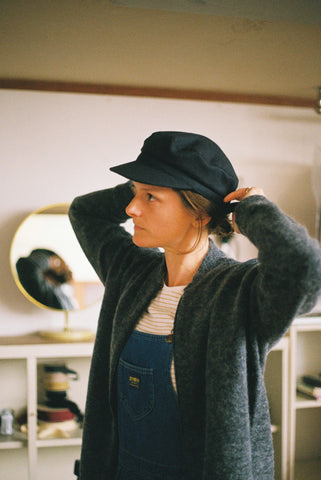 Emma wears Bombes and Blades Knit and The Brim Label Cecile