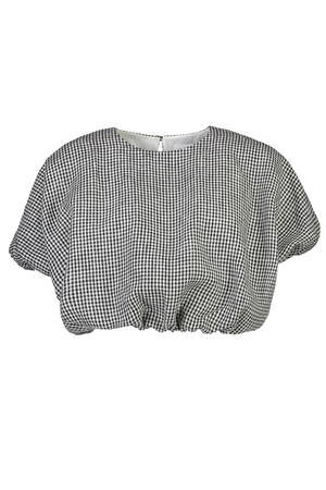 All Puffed Up Top in Black Gingham - hej hej