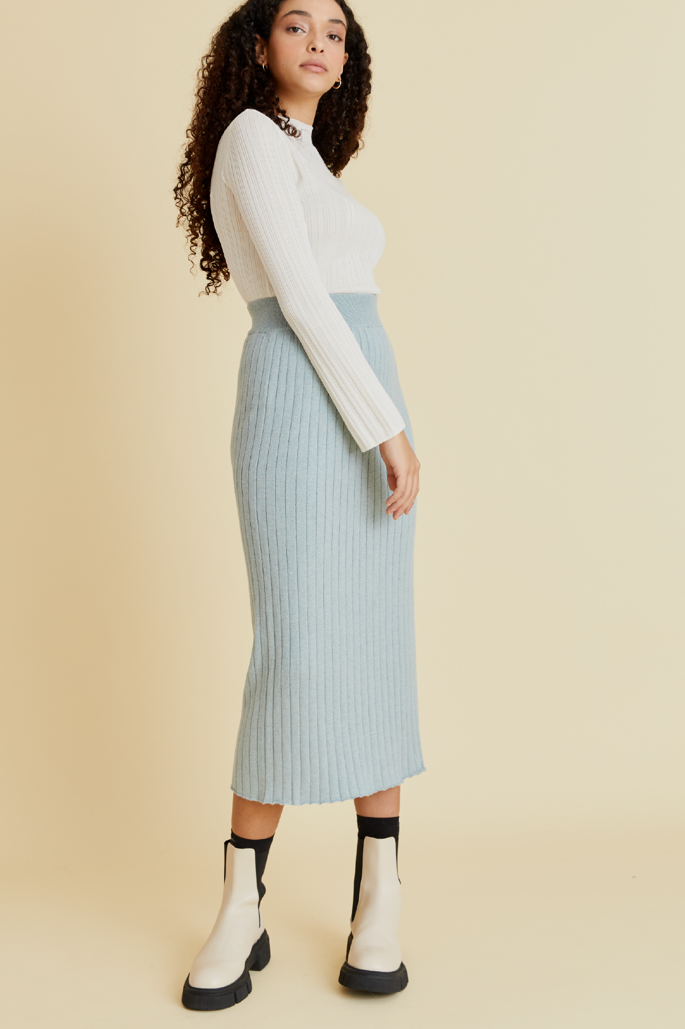 Pin Dropper Knit Skirt in Seafoam - hej hej