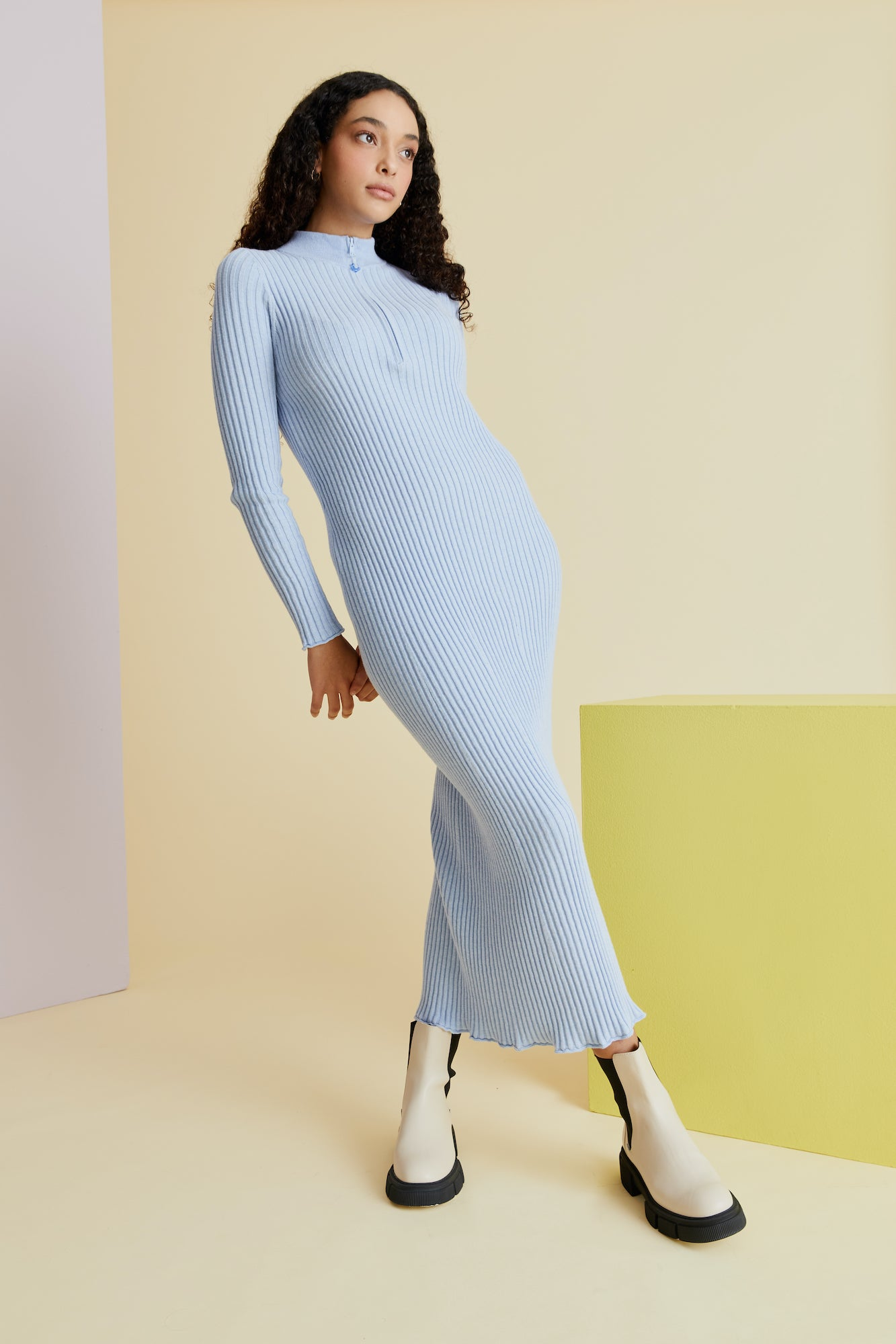 Zippy Knitty Knit Dress in Sky Blue - hej hej