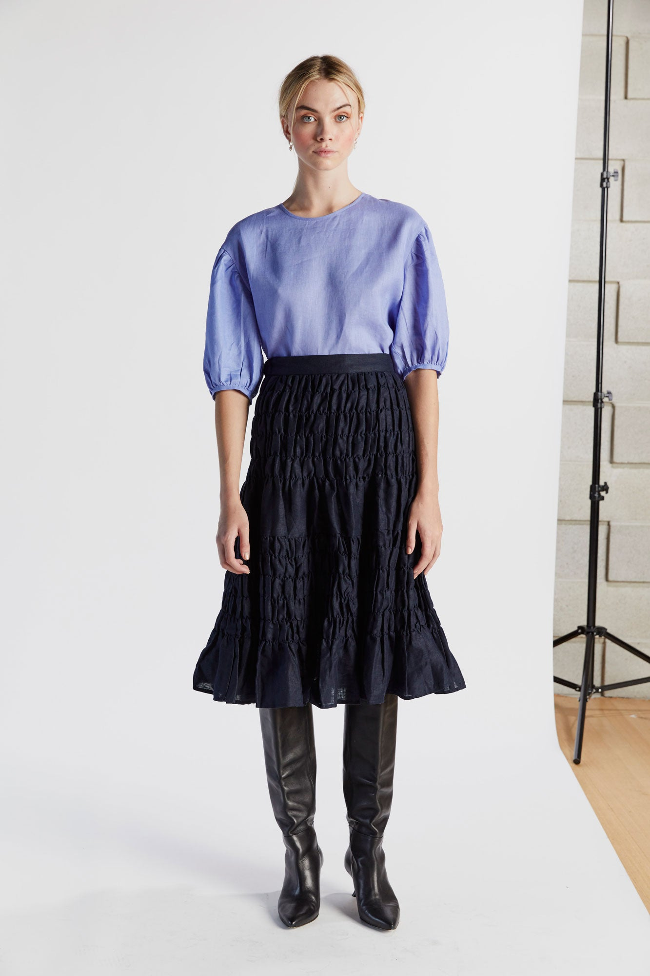 Bing Bang Breakfast Skirt in Indigo - hej hej