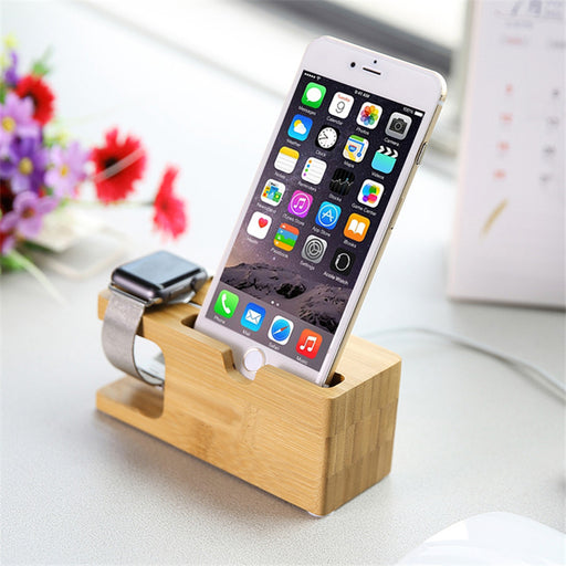 Bamboo Charging Dock Station Stand Holder For iPhone