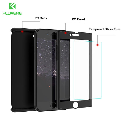 360 Protective  Tempered Glass Case For iPhone