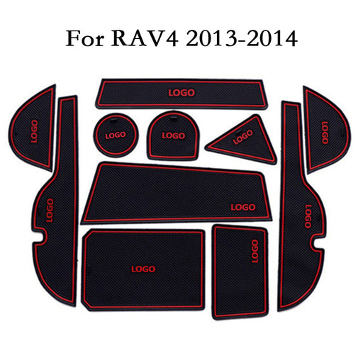Car Cup Mat Door Gate Slot Pad Storage Box Mat Stickers For Toyota RAV4