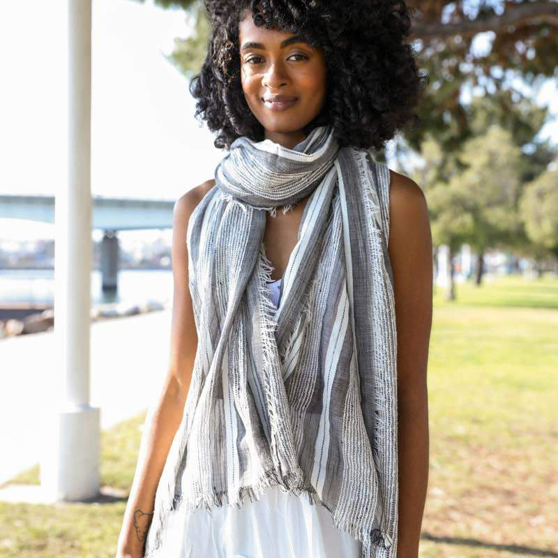Woven Vertical Stripe Frayed Edge Scarf - Pen & Grey