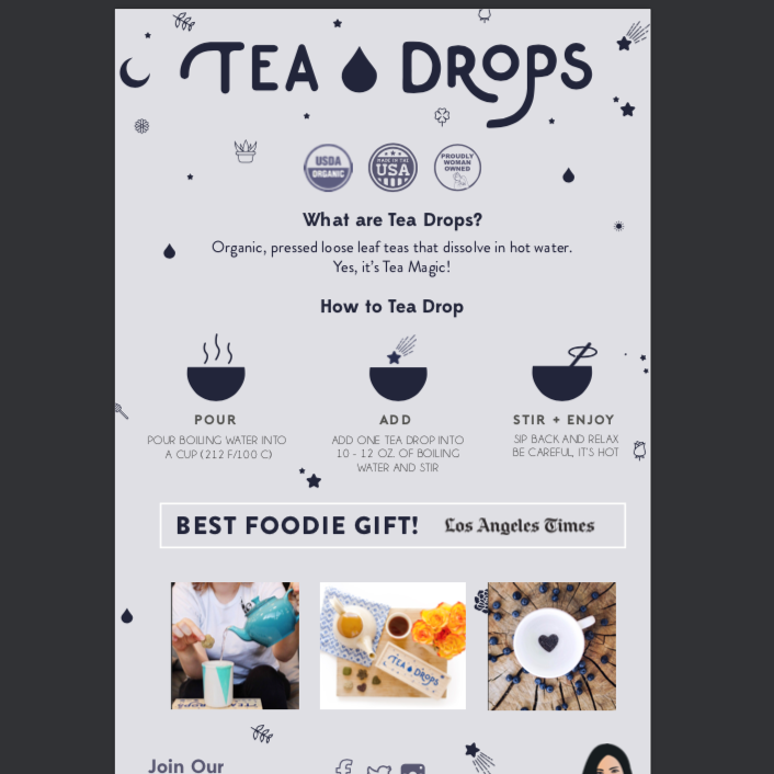 Tea Drops - Tea Drops Table Top Signage - Pen & Grey