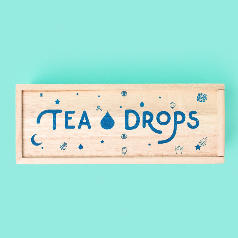 Tea Drops - Tea Drops Empty Medium Wood Box - Pen & Grey