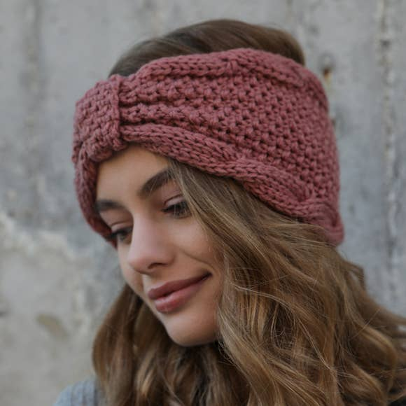 Leto Accessories - Rolled Bow Knit Headband