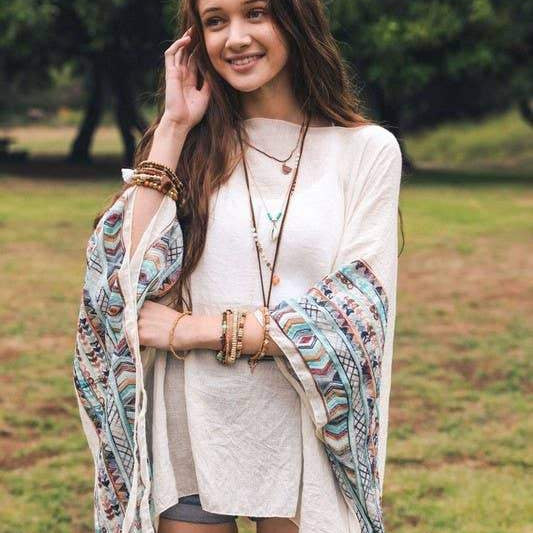 Leto Accessories - Geometric Embroidered Sleeve Kimono - Pen & Grey