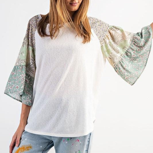Easel Floral Bell Sleeve Top - Pen & Grey