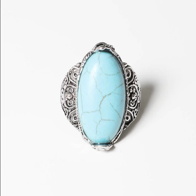 Turquoise Ring w/ Detailed Band - Pen & Grey