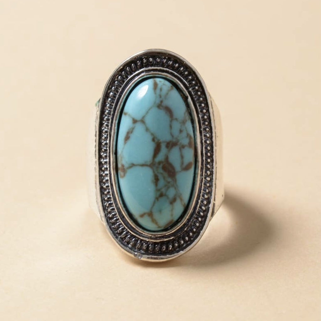 Vintage Turquoise Stone Ring - Pen & Grey